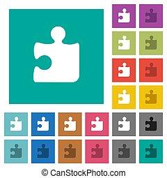 Puzzle square flat multi colored icons