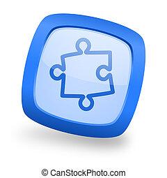 puzzle square glossy blue web design icon