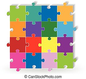 Puzzle square icon logo