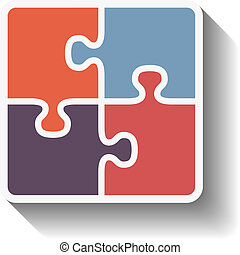 Puzzle Square - Puzzle square with diagonal shadow, flat...