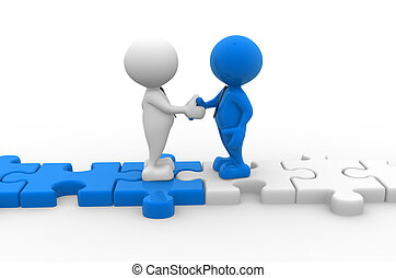 Puzzle - 3d people - men, person shaking hands on puzzle...