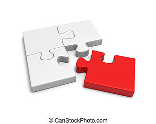 puzzle - 4 jigsaw puzzle pieces on isolated white background