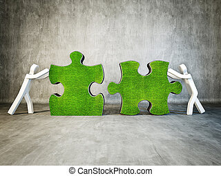 puzzle - two man building puzzle on concrete background