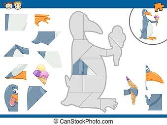 puzzle, tâche, dessin animé, manchots