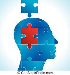puzzle, têtes, vecteur