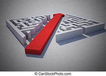puzzle, taglio, attraverso, freccia rossa