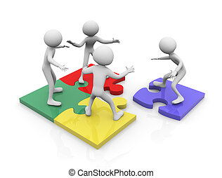 Puzzle team work - 3d render of team work concept. Men ...
