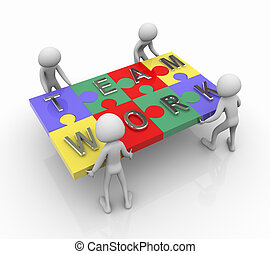 Puzzle team work - 3d men working together for completing...