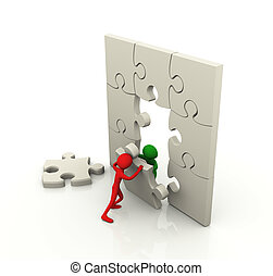 Puzzle team work concept - 3d men working together with ...