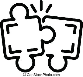Puzzle teamwork icon, outline style