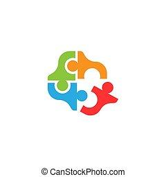 puzzle teamwork logo design vector