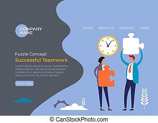 Puzzle teamwork office life concept. Vector flat graphic design illustration