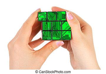puzzle, technologie, mains