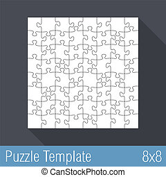 Puzzle Template 8x8 - Square jigsaw puzzle template 8x8...