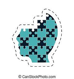 puzzle, testa, immagine, soluzione