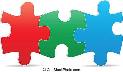 puzzle three color - illustration of three color puzzle
