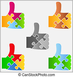 Puzzle thumbs up icons