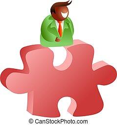 puzzle time - businessman sitting ontop of a puzzle peice -...