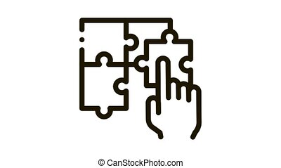 puzzle toy Icon Animation. black puzzle toy animated icon on white background