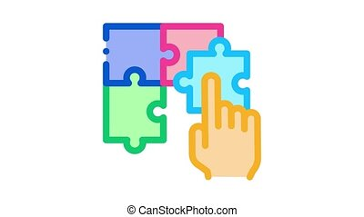 puzzle toy Icon Animation. color puzzle toy animated icon on white background