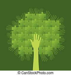 puzzle tree with hands group