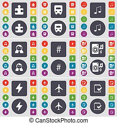 Puzzle, Truck, Note, Avatar, Hashtag, Speaker, Flash, Airplane,  icon symbol. A large set of flat, colored buttons for your design. Vector