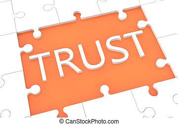 Puzzle trust concept - puzzle with words on orange...