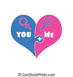 Puzzle Two Pieces Heart in Blue and Pink Color