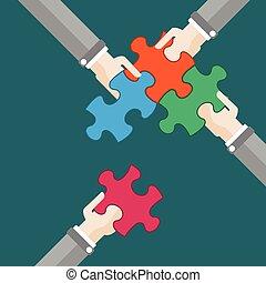 puzzle, ultimo, 4, mani