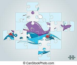 puzzle, vagues, fish, océan