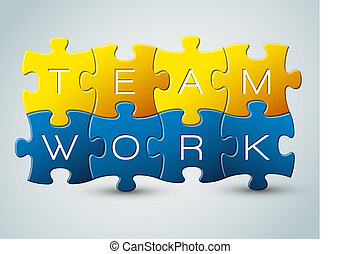 puzzle, vecteur, collaboration, illustration