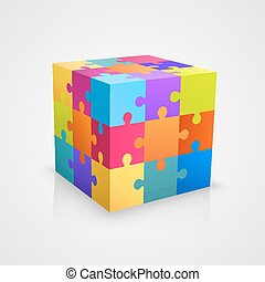 puzzle, vecteur, coloré, illustration, cube.
