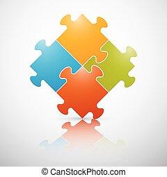 puzzle, vecteur, coloré, illustration