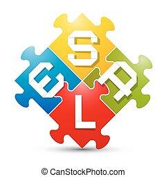 puzzle, vecteur, coloré, vente, illustration