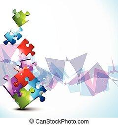 puzzle, vecteur, conception, forme