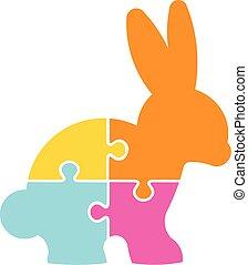 puzzle, vecteur, conception, lapin, logo, paques, heureux