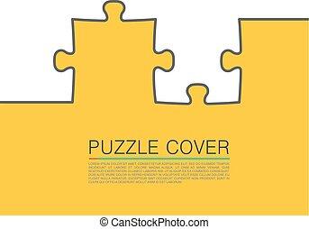 puzzle, vecteur, couverture, illustration, art.