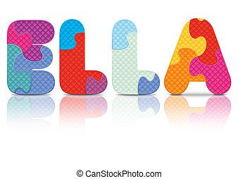 puzzle, vecteur, ella, écrit