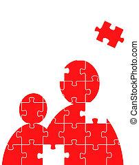 puzzle, vecteur, gens