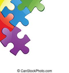 puzzle, vecteur, illustration, morceau