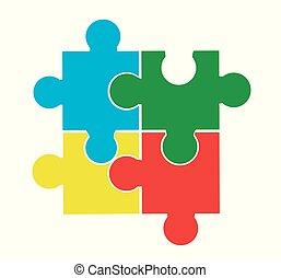 puzzle, vecteur, illustration, morceaux