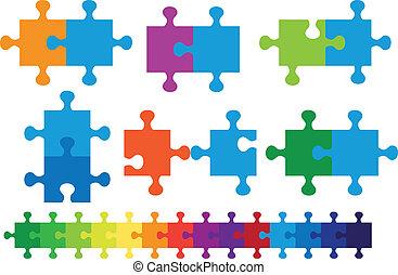 puzzle, vecteur, puzzle