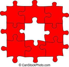 puzzle, vecteur, rouges