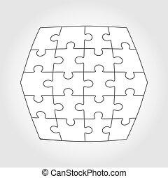 puzzle, vecteur, vingt, morceaux denteux