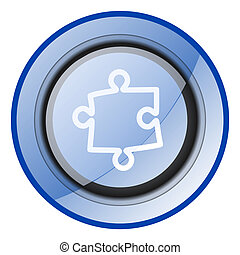 Puzzle vector icon. Blue glossy round web button isolated on white background. Modern design internet pushbutton.