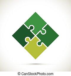 puzzle, vert, morceaux