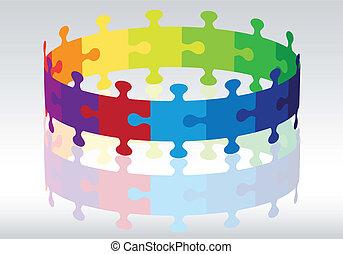 puzzle, vettore, 3d, cerchio