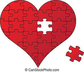 puzzle, vettore, cuore rosso