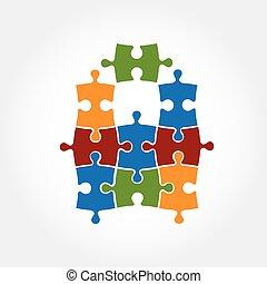 puzzle, vettore, disegno, sagoma