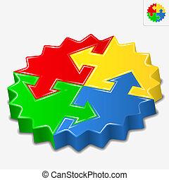 puzzle, vettore, frecce, 3d, pezzi